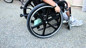wheelchair on gravel